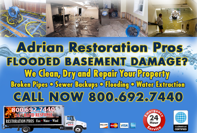 Adrian Flooded Basement Cleanup