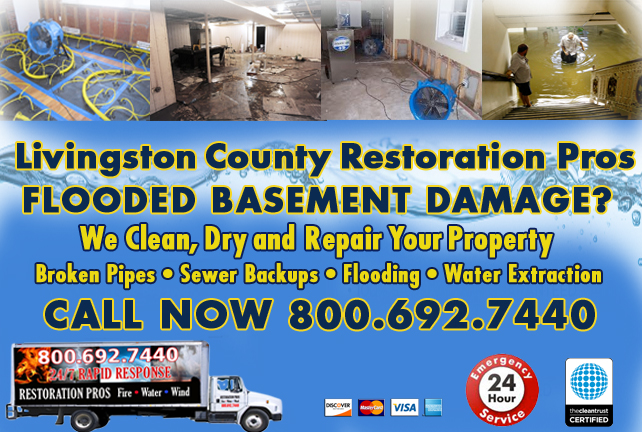 Livingston County Flooded Basement Cleanup