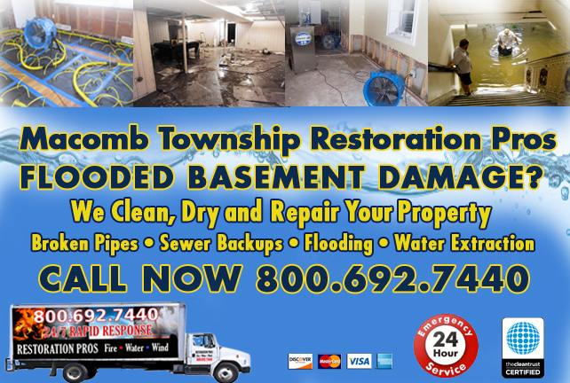 Macomb Township Flooded Basement Cleanup