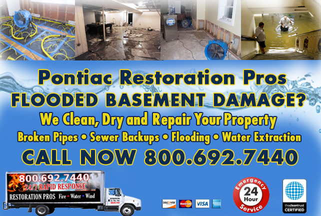Pontiac Flooded Basement Cleanup